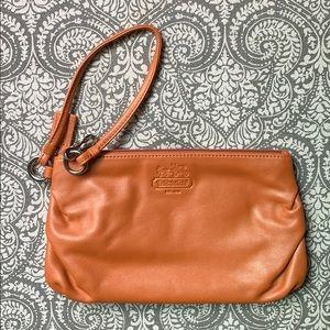 Coach Leather Wristlet Orange- NWOT